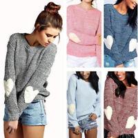 Women Heart Long Sleeve Knitted Jumper Sweater Loose Pullover Tops Coat Knitwear
