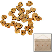 Wooden Heart Buttons 13mm With 2 Hole Embellishment Cardigans Decoration 100pcs