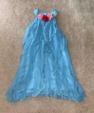 Peaches N Cream Girls BEAUTIFUL Blue Ruffle Summer Dress