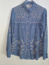 WOMEN LONG SLEEVE BUTTON DOWN EMBROIDERED 3J WORKSHOP SHIRT BY JOHNNYWAS BLUE