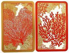 PAIR SWAP CARDS. SEA FANS CORAL DESIGN. ARTIST JANINE MOORE. MODERN CASPARI.MINT