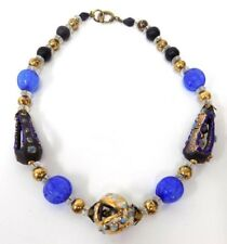 Vintage Glass & Metal Bead Choker Necklace with Blue & Gold Pottery Cage Beads
