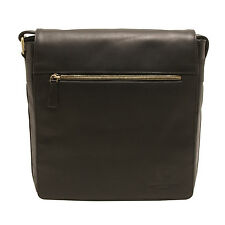 UNDERWOOD & Tanner-Cuir Noir Mike Shoreditch Medium Messenger sac