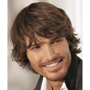 100% Real Hair!Men Natural Straight Curly Dark Brown Human Hair Wig Toupee