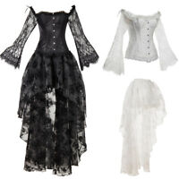 Women Retro Bustier Dress Gothic Vintage Lace Mesh Corset Skirt Sets Full Sleeve