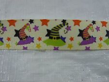 "BTY 7/8"" Witch Hat Halloween Star Yellow Dot Grosgrain Ribbon"