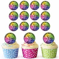 Disco Ball 24 Personalised Pre-Cut Edible Birthday Cupcake Toppers Decorations