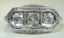 Antique Art Deco Vintage Diamond Engagement 18K White Gold Ring Size 7 EGL USA