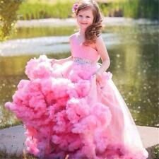 Prom Girls Ball Gown Cloud Dress Long Pink Beauty Pageant Dresses For Kids