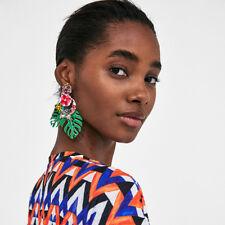 Vintage Bead Flower Green Leaf Dangle Ear Stud Drop Earrings Women Ear Accessory