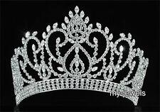 Pageant Beauty Contest Silver Tiara Full Circle Round Crown Wedding Party T1794