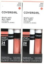 2 Covergirl 593 Nude Outlast 24hr All Day Colorcoat & Moisture Topcoat Lipcolor