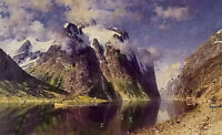 Oil painting adelsteen normann - 峡湾 - the fjord nice landscape with mountains