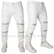 Jeans Uomo Denim Pantalone Bianco Strappati Elasticizzati Foderati Design 6756