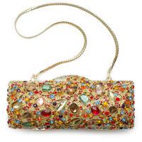 Geometric Gold Color Minaudiere Evening Bag Handbag Crystal Evening Bead NEW
