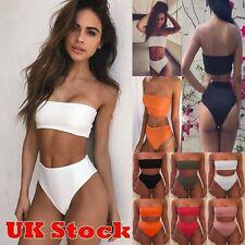 Womens Push Up Swimwear Bandage Bra Bikini Set High Waist Swimsuit Bathing Suit