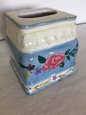 CIC  Ceramic Rose Blue  Floral Tissue Box Cover  NEW