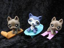 Littlest Pet Shop #1217 Purple Husky Blue Eyes #491 German Shepherd (x2)