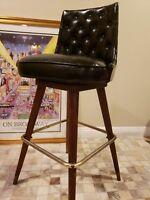 Mid Century Modern  Bar Stool Black Leather Tufted  Rare swivel