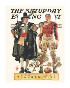Saturday Evening Post Pilgrim & Football Handmade Counted Cross-Stitch Chart