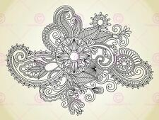 Painting Illustration Abstract Floral Ornate Pattern Canvas Art Print