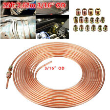 "25ft Roll Coil 3/16"" OD Copper Nickel Brake Line Tubing Kit +16Pcs Nuts Fittings"