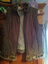Reversible Per Una M&S Spring Gilet. Fur Trim, Pockets, Dark/Light Green M