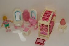 Fisher Price Girls Bedroom Canopy Bed Set Vanity Chair & Lamp With Little Girl