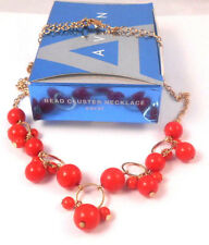 GORGEOUS AVON BEAD CLUSTER NECKLACE IN CORAL GOLDTONE CHAIN NEW OLD STOCK 2009