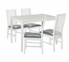 Ayton Solid Wood Dining Table & 4 Chairs - White
