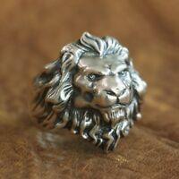 Handmade 925 Sterling Silver 3D King of Lion Men Biker Animal Ring TA109 #N½~Z4