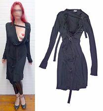 Sexy décolleté Jean Paul Gaultier FEMME runway BLACK FETISH BONDAGE strap dress