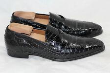 MEZLAN 'Bordone' Genuine Alligator Penny Loafer Slip On - Black Size 8.5 M (P3)
