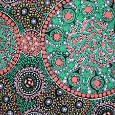 AUSTRALIAN ABORIGINAL ART  FABRIC - FRESH LIFE AFTER RAIN GRN- Buy metres by FQ
