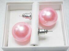 Light Pink (peachy/pink) Faux Pearl 12mm Stud earrings  Post & Butterfly Backs