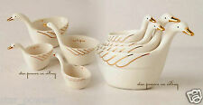 Anthropologie Measuring Cups White 4 Hostess Wedding Mother Gift Gilded Geese