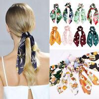 Hot Bow Streamers Pineapple Flower Print Hair Scrunchies Ribbon Hair Rope Ties