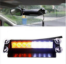 8 LED Strobe White Amber Emergency Vehicle Car Flash Light Warning Dash 3 Modes