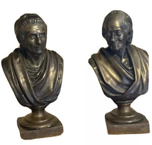Pair of Antique Bronze Busts After Jean-Antoine Houdon (1741-1828) French Signed