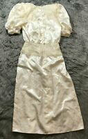 VTG Gunne Sax Jessica Mcclintock Satin Lace Puffy Sleeve Dress Wedding 80s Sz 9