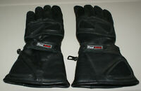 Mens Real Rider Motorcycle Lined Full Finger Forearm Length Black Leather Gloves