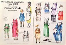 Mother and Daughter from 1920 Paper Doll by Kathleen Taylor, Mag. Pd. 1988