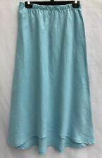 Bryn Walker Linen Womans Skirt Baby Blue Pull In Hi Low Hem Flare Long Sz Large