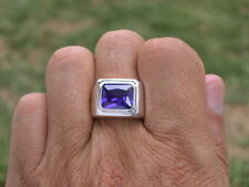 11x9 mm 925 Sterling Silver February Amethyst Stone Solitaire Men Ring Size 12