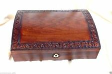 "Polish Linden Wood Jewelry Box Locking with Key Lined Interior,10"" X 7.5"" NIB"