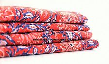 5 Yard Indian Floral Design Running Loose Cotton Red Fabrics Decor Sewing Craft