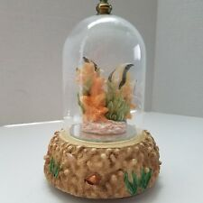 Glass Dome Rotating Music Box Fish And Coral Inside Plays Memories See Video