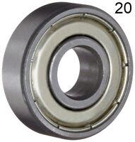 Twenty (20) 608ZZ 8x22x7 Shielded Greased Miniature Ball Bearings