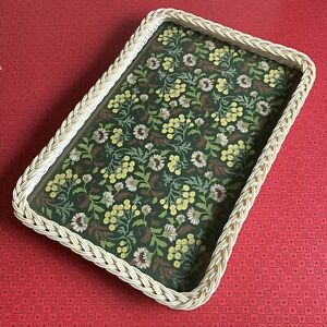 Vintage Melamine Tray With Faux Wicker & Floral Print Similar To William Morris