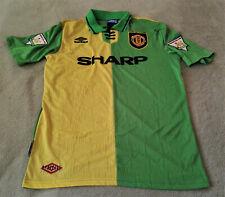 Manchester United 1992-94 Eric Cantona Yellow/Green Newton Heath Away Jersey XL